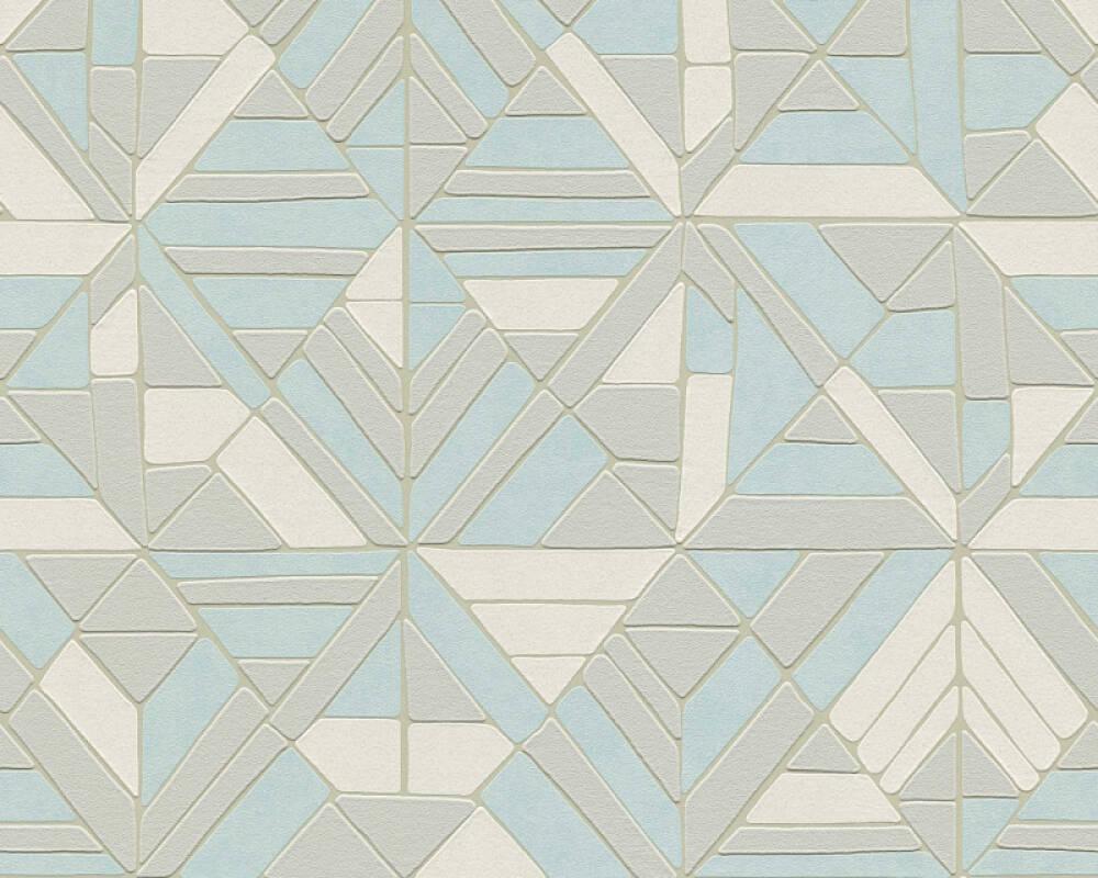 A.S. Création papier peint Graphique, blanc, bleu, crème, gris 374813