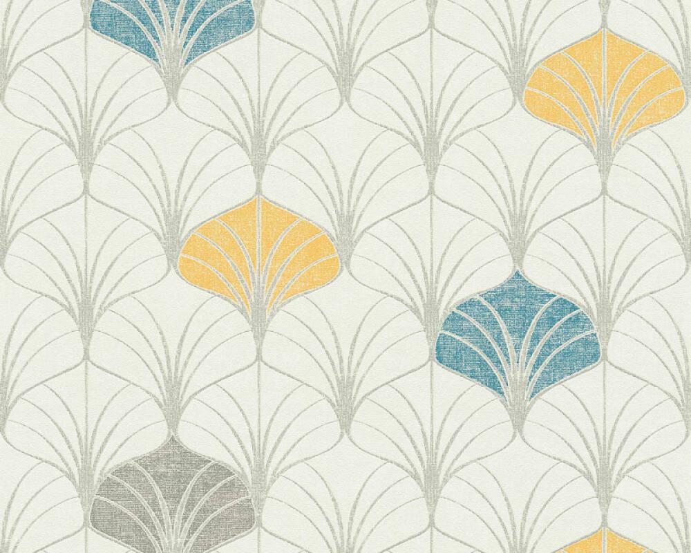 A.S. Création papier peint Graphique, beige, bleu, crème, gris 374831