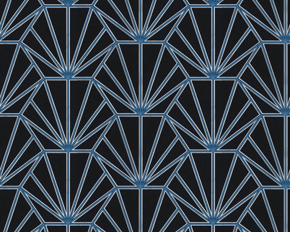 Daniel Hechter Tapete Grafik, Blau, Metallics, Schwarz, Silber 375282