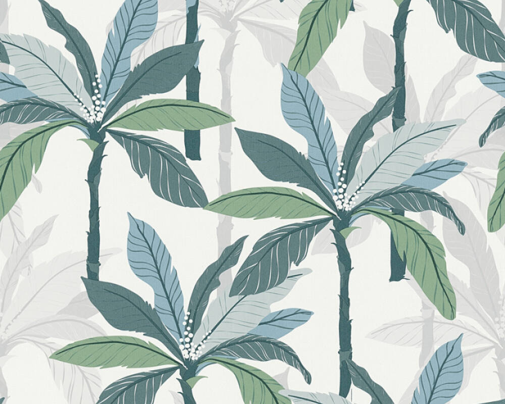 Private Walls Wallpaper Floral, Blue, Green, White 375301