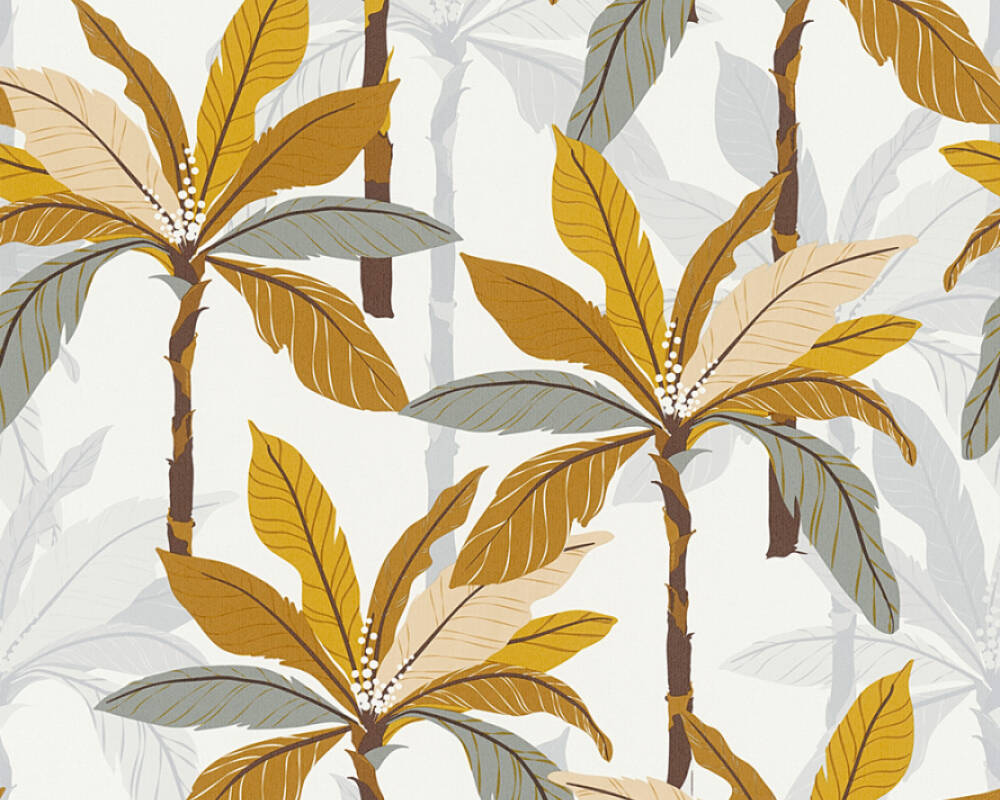 Private Walls Wallpaper Floral, Brown, Grey, Orange, White 375302