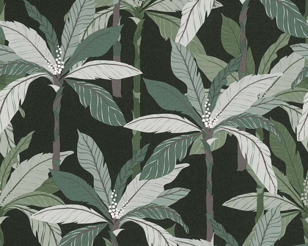 Private Walls Wallpaper Floral, Black, Green 375303