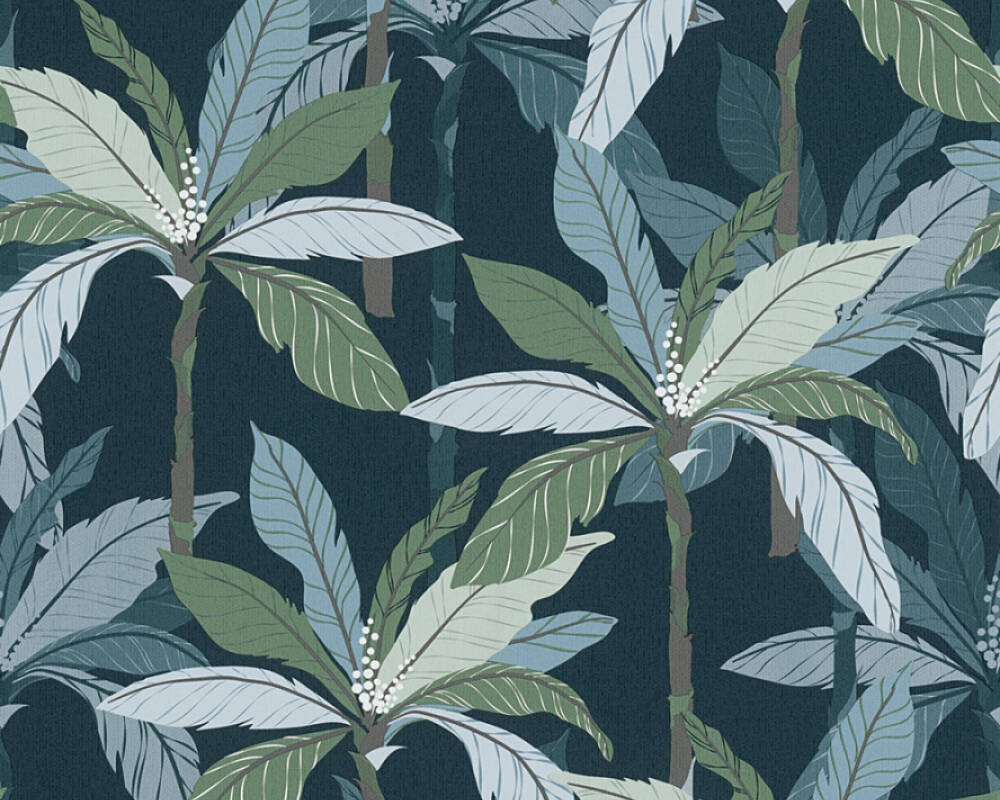 Private Walls Wallpaper Floral, Blue, Green 375306