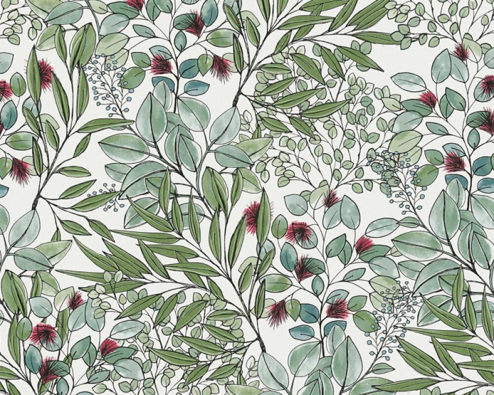 Private Walls Wallpaper Floral, Green, Purple, White 375341