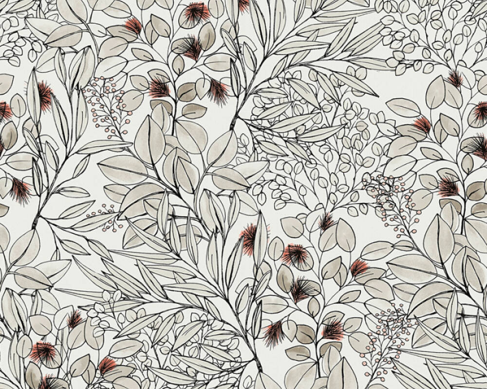 Private Walls Tapete Floral, Beige, Rosa, Weiß 375342