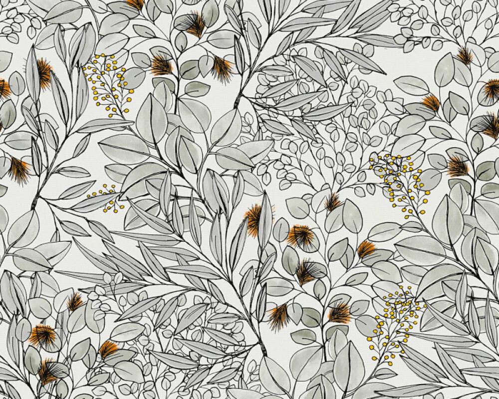 Private Walls Wallpaper Floral, Grey, Orange, White 375343