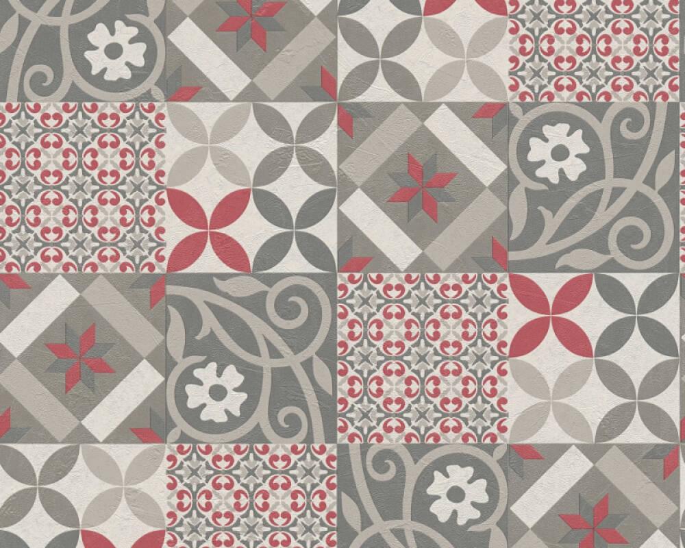 A.S. Création Tapete Grafik, Creme, Grau, Rot 376843