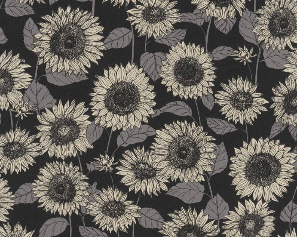 A.S. Création Tapete Floral, Grau, Metallics, Schwarz 376854