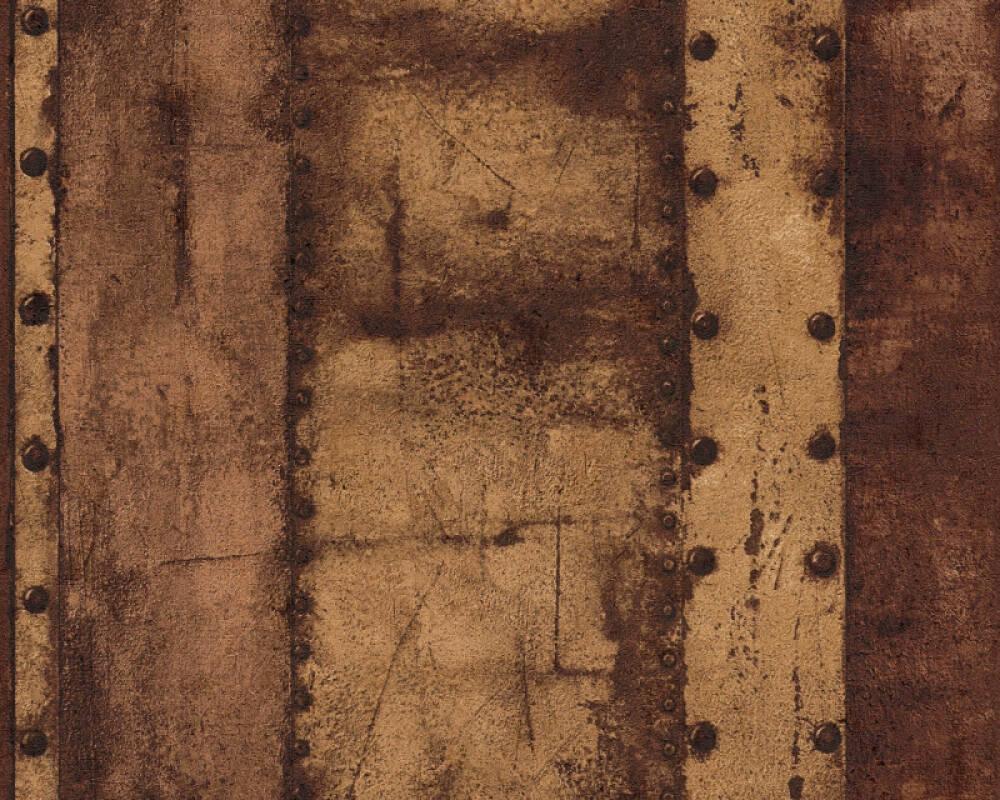 Livingwalls Tapete Streifen, Braun, Metallics, Schwarz 377433