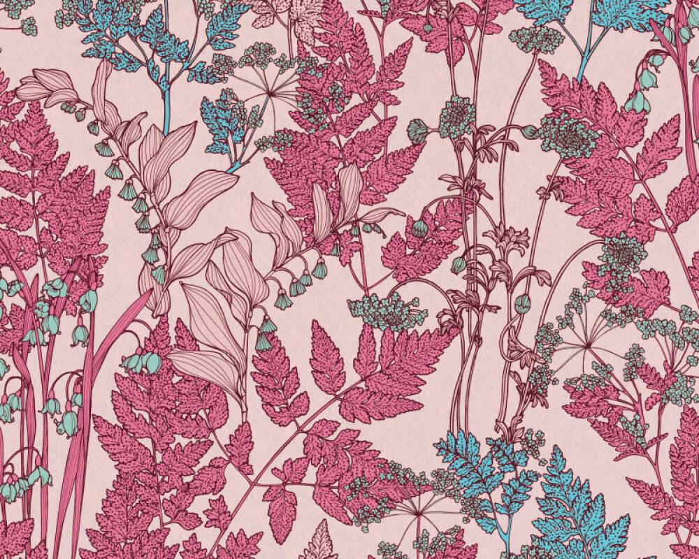 Architects Paper Tapete Floral, Blau, Bunt, Rosa 377518