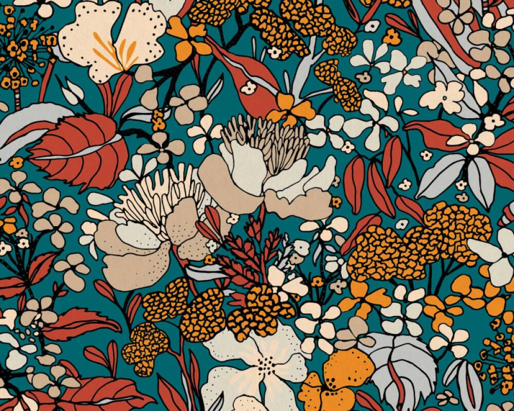 Architects Paper Tapete Floral, Beige, Blau, Bunt 377562