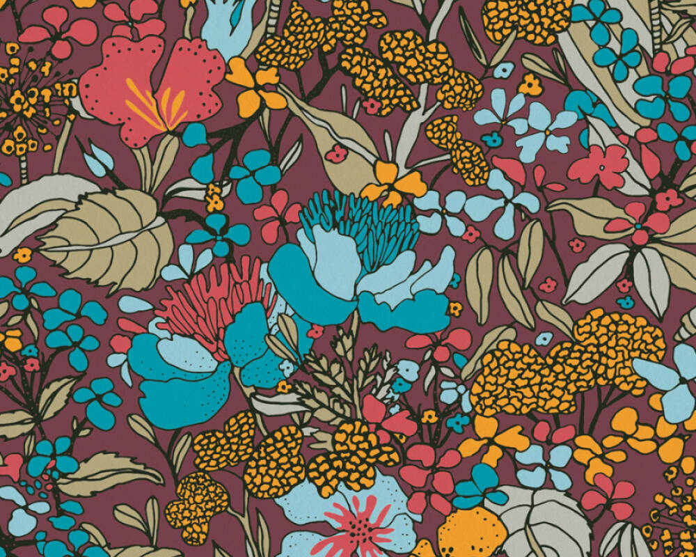 Architects Paper Tapete Floral, Bunt, Gelb, Rot 377563