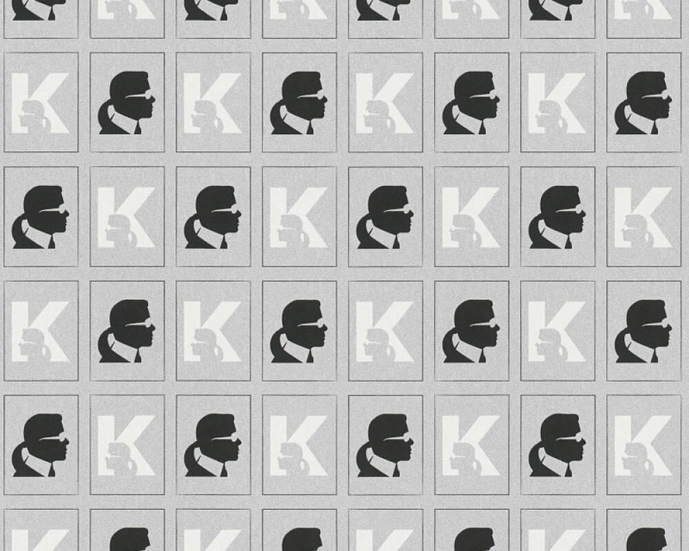 Karl Lagerfeld Tapete Grafik, Metallics, Schwarz, Weiß 378424