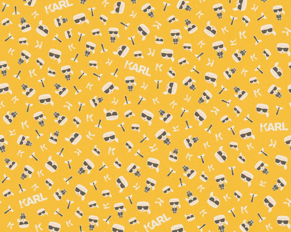 Karl Lagerfeld Tapete Grafik, Gelb, Schwarz, Weiß 378434