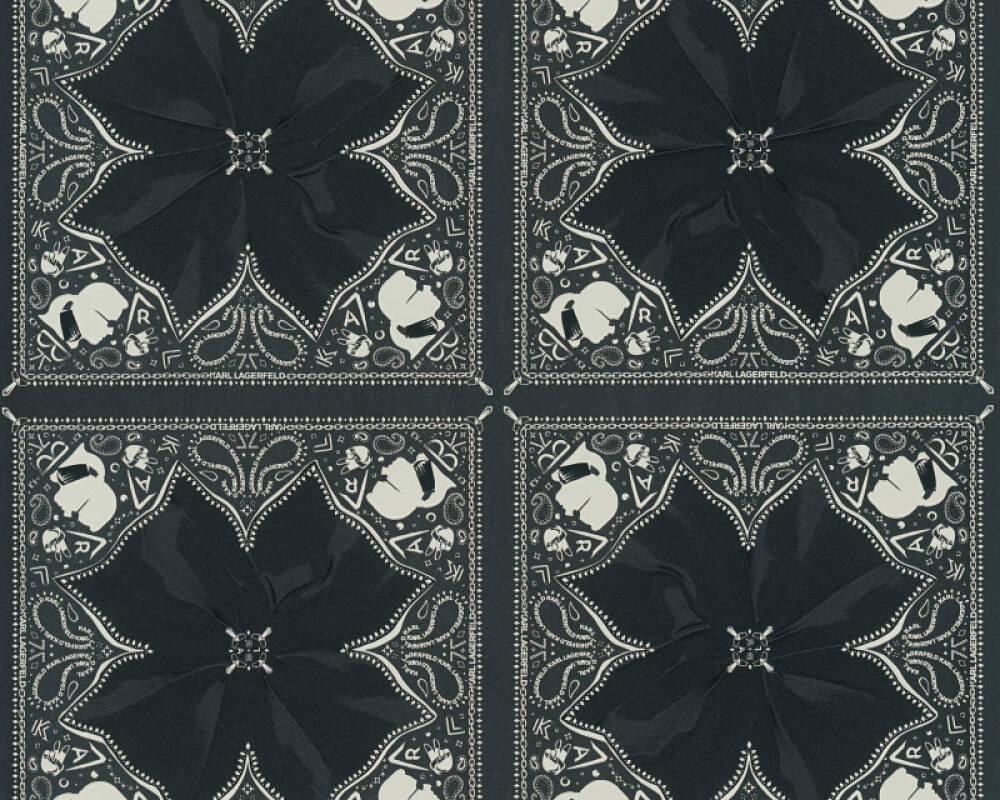 Karl Lagerfeld Tapete Barock, Schwarz, Weiß 378452