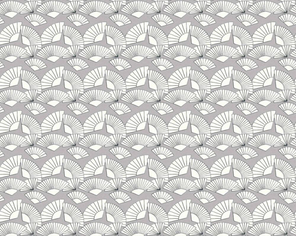 Karl Lagerfeld Tapete Grafik, Grau, Metallics, Weiß 378471