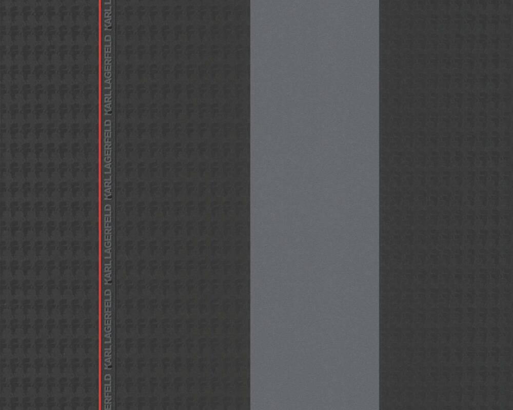 Karl Lagerfeld Tapete Streifen, Grau, Rot, Schwarz 378481