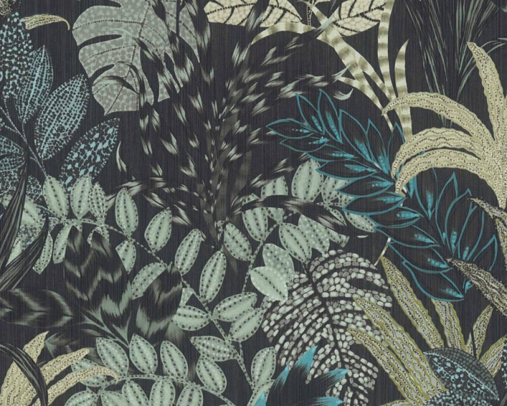 Livingwalls papier peint Floral, noir, vert 378603