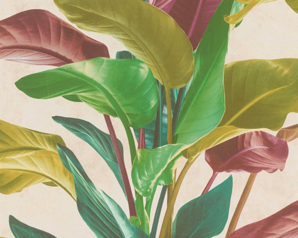 Livingwalls Wallpaper Floral, Coloured, Cream, Green 378621
