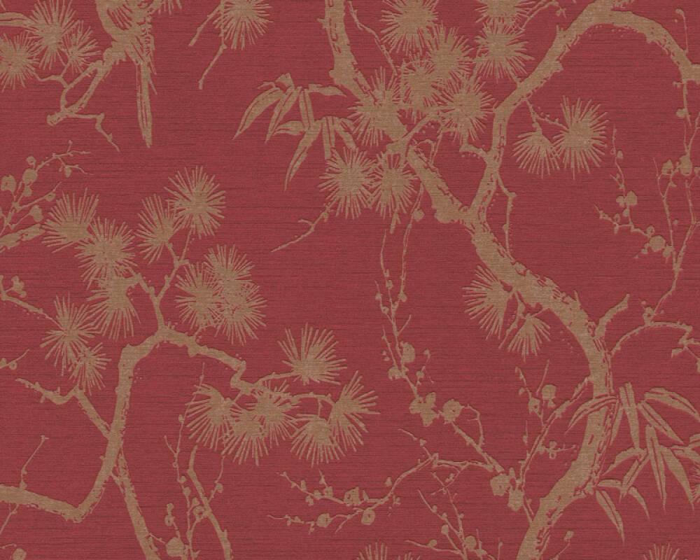 Livingwalls Wallpaper Floral, Metallic, Red 378671