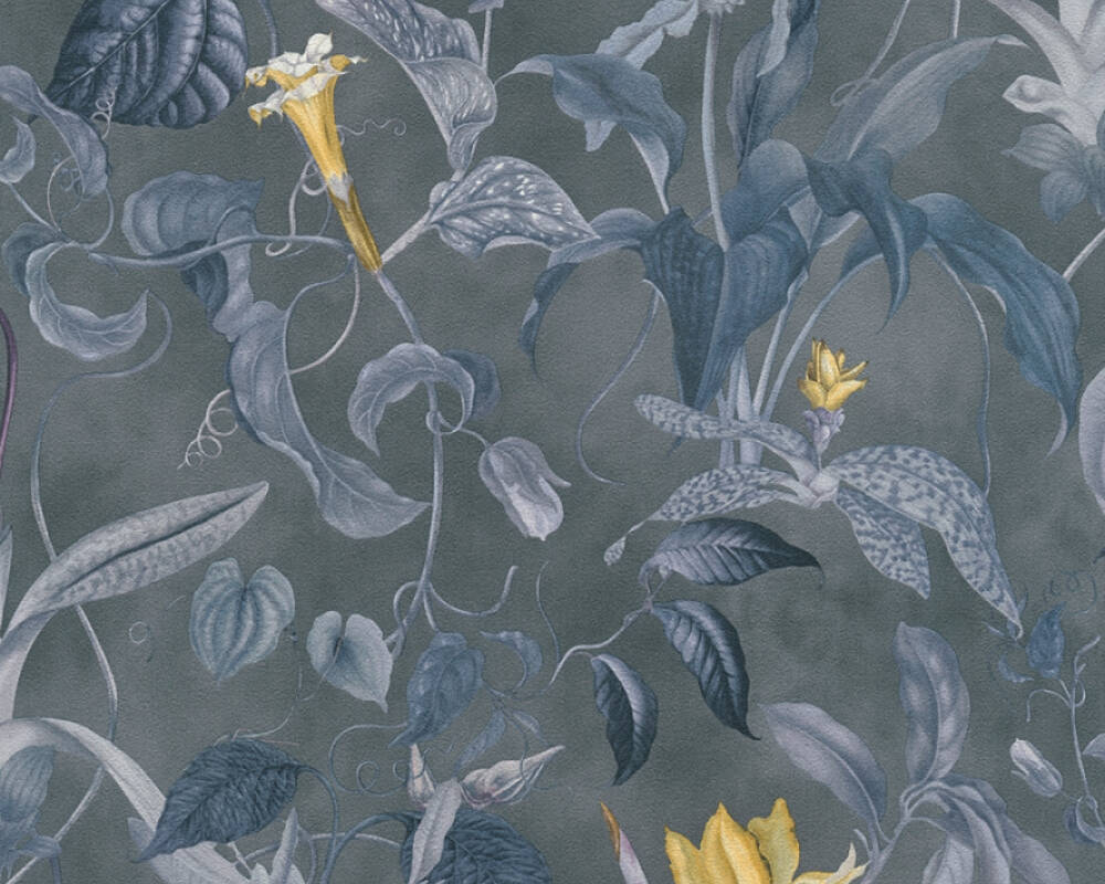 MICHALSKY LIVING Wallpaper Floral, Blue, Grey, Yellow 379883