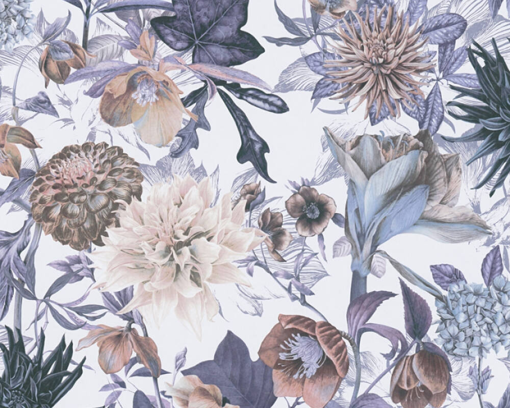 A.S. Création Обои Флора, Бежевые, Белые, Синие 381751