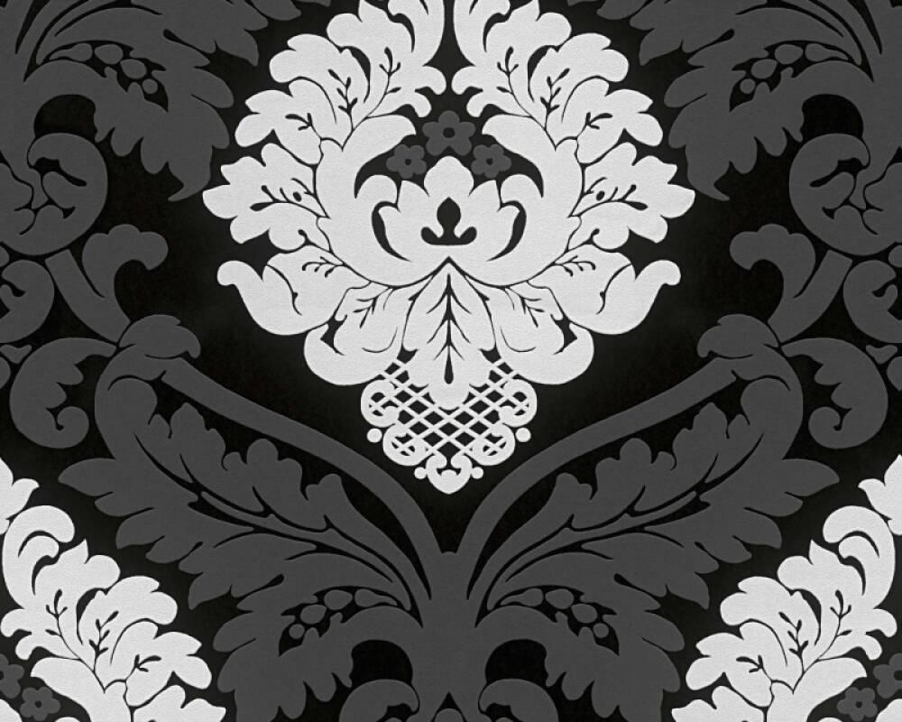 Livingwalls papier peint Baroque, Floral, blanc, noir 554314
