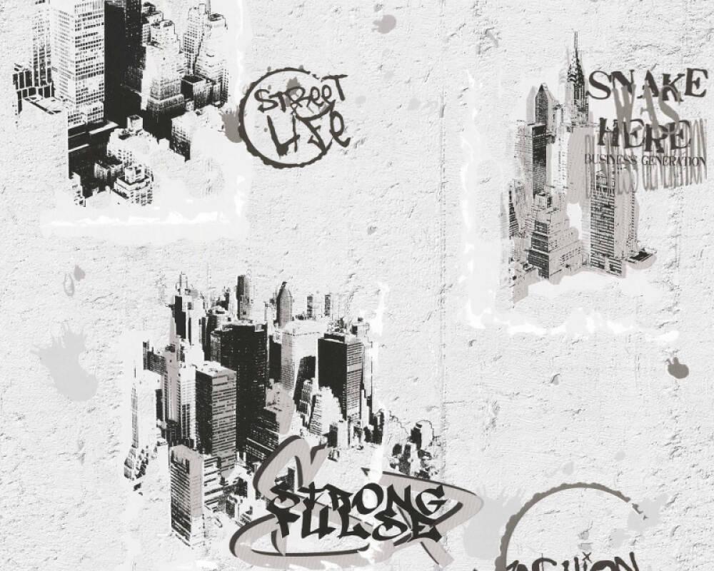 A.S. Création Wallpaper Black, Metallic, White 684011