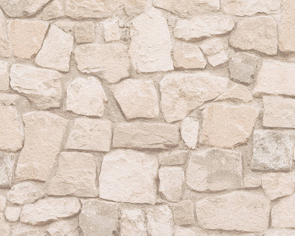 A.S. Création Wallpaper Stone, Beige, Brown, Coloured 692429