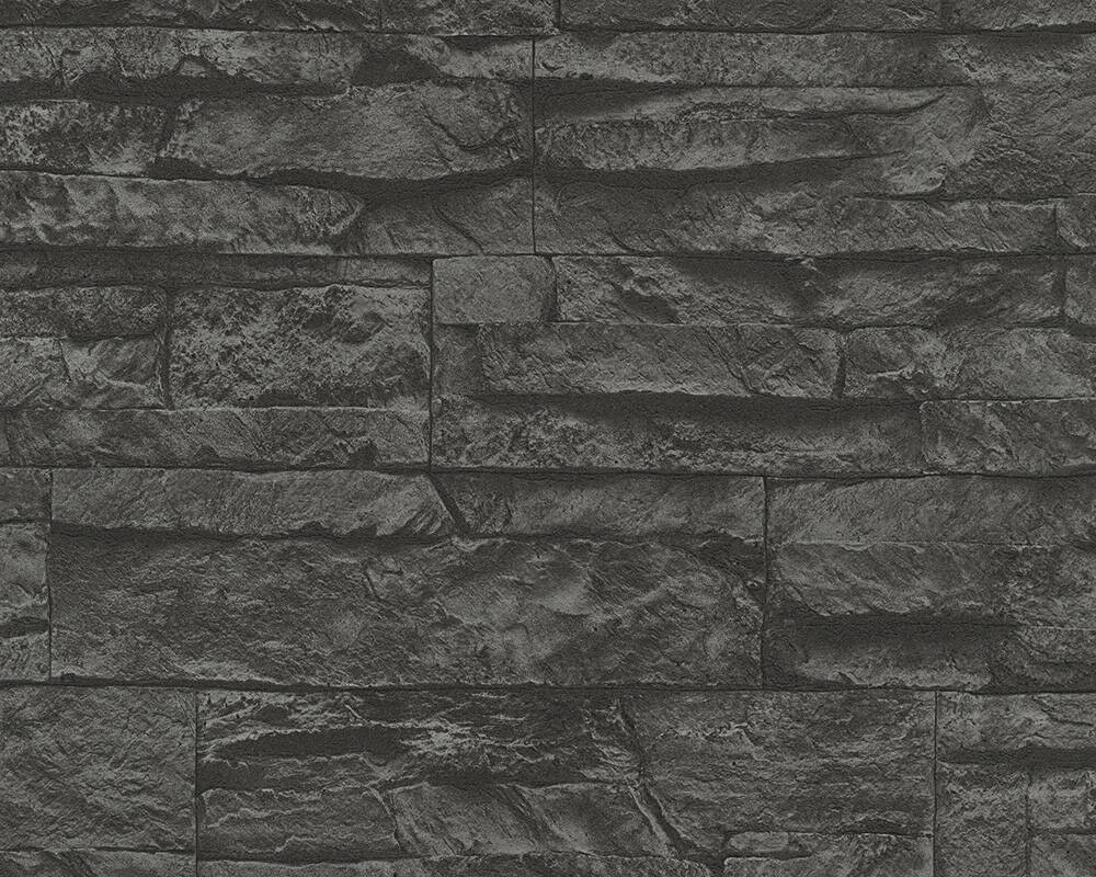 A.S. Création Wallpaper Stone, 3D, Black, Grey 707123