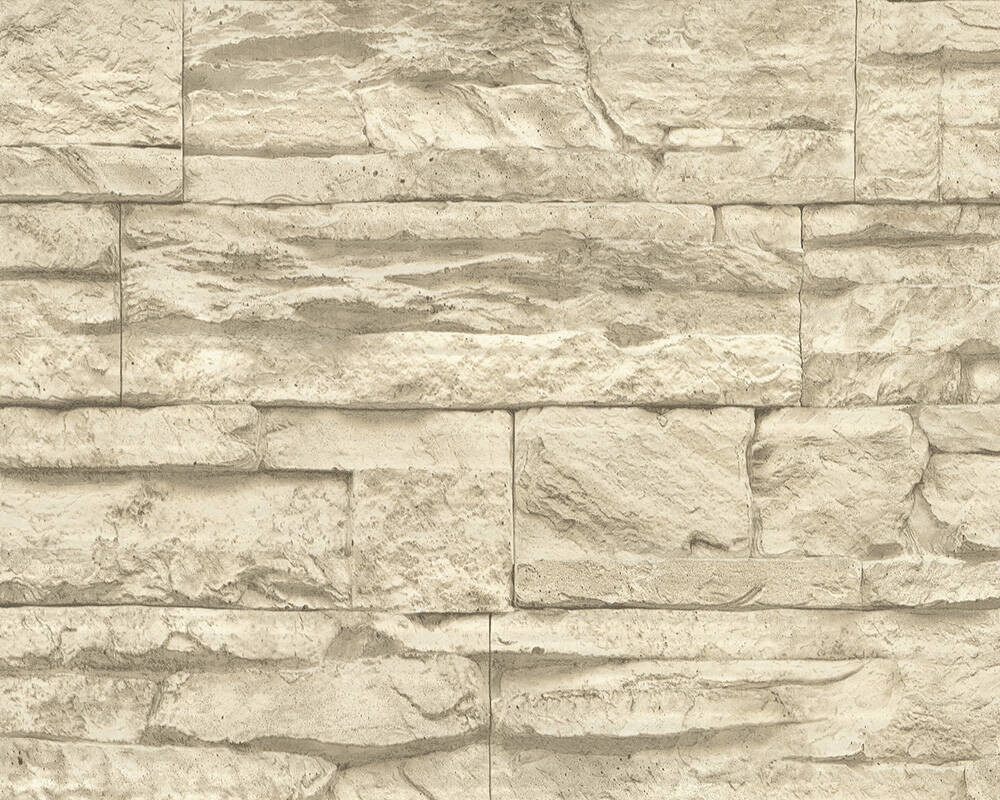 A.S. Création Wallpaper Stone, Beige, Cream 707130