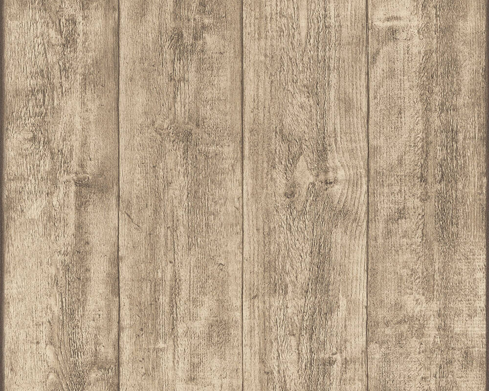 A.S. Création Wallpaper Wood, Cottage, Beige, Brown, Yellow 708816