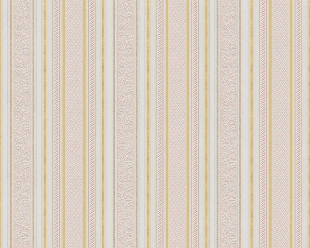 A.S. Création papier peint Rayures, blanc, métallique, or, rouge 765659