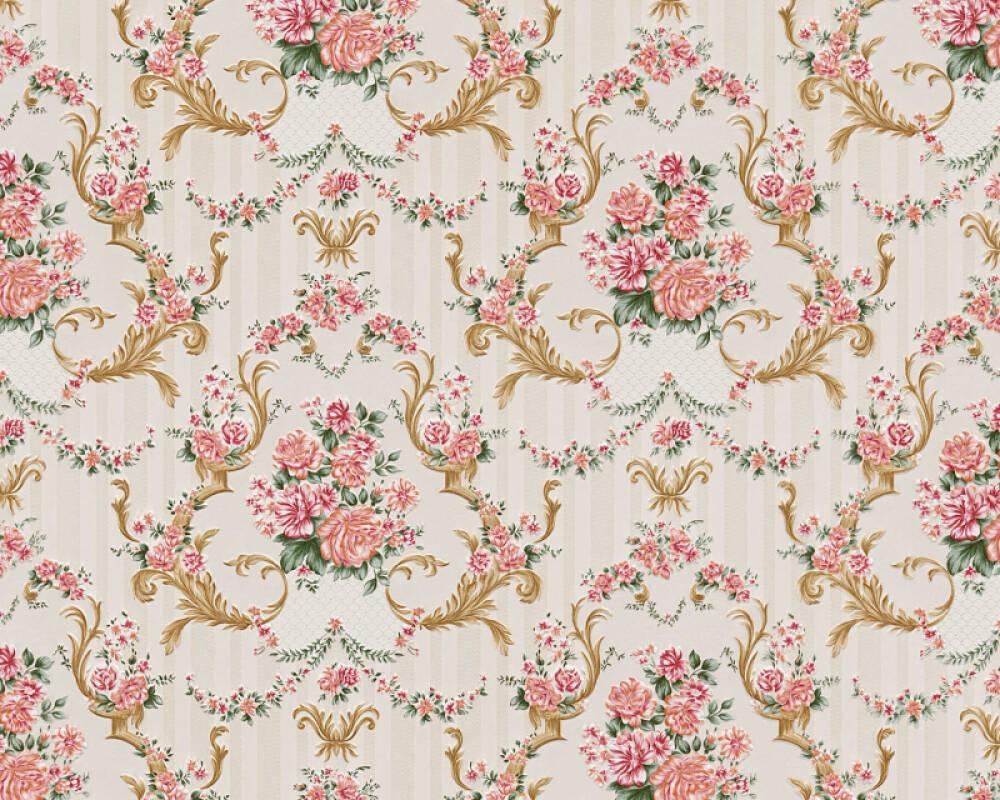 A.S. Création Wallpaper Baroque, Gold, Green, Metallic, Pink 765765