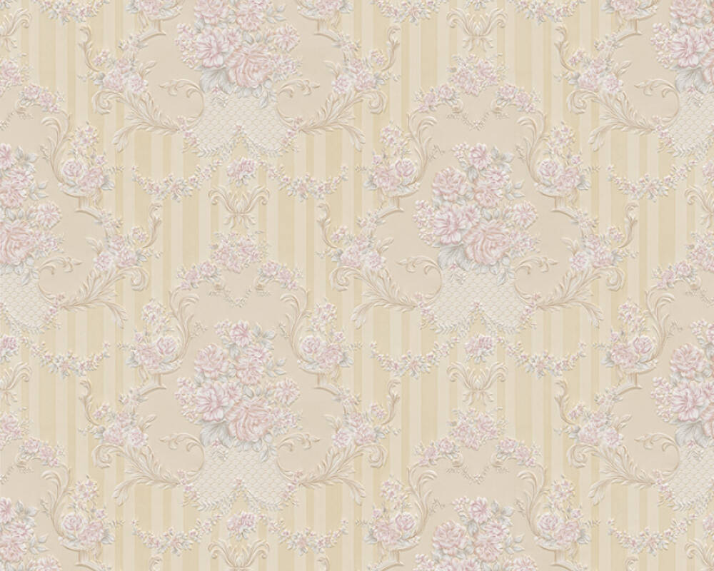 A.S. Création Wallpaper Baroque, Beige, Gold, Metallic, Pink 765789