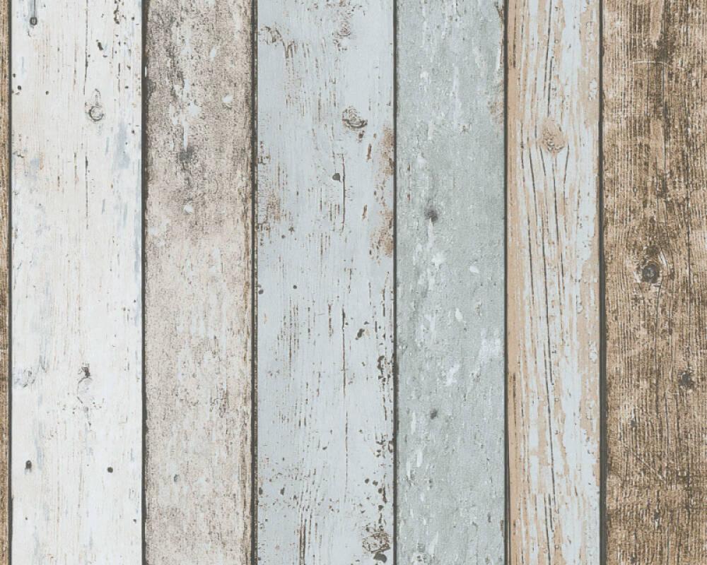 A.S. Création papier peint Bois, Maison, beige, bleu, marron 899927