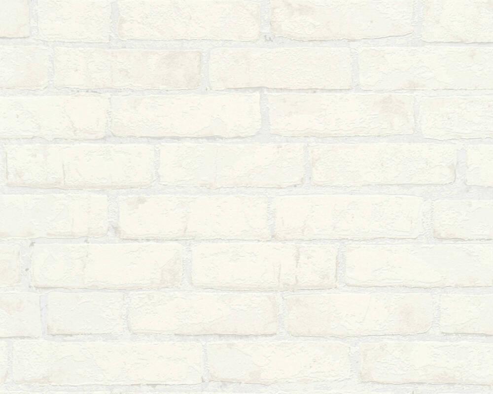 A.S. Création Wallpaper Stone, Metallic, White 907851