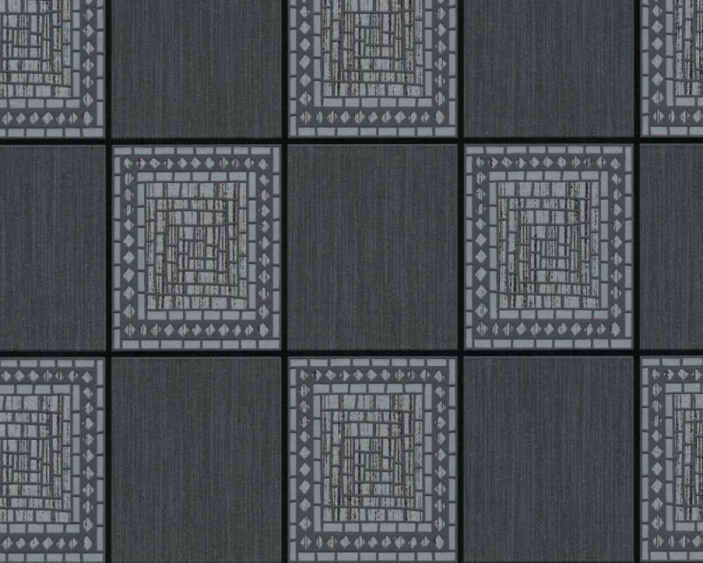 A.S. Création Wallpaper Tile, Black, Grey, Metallic 934892