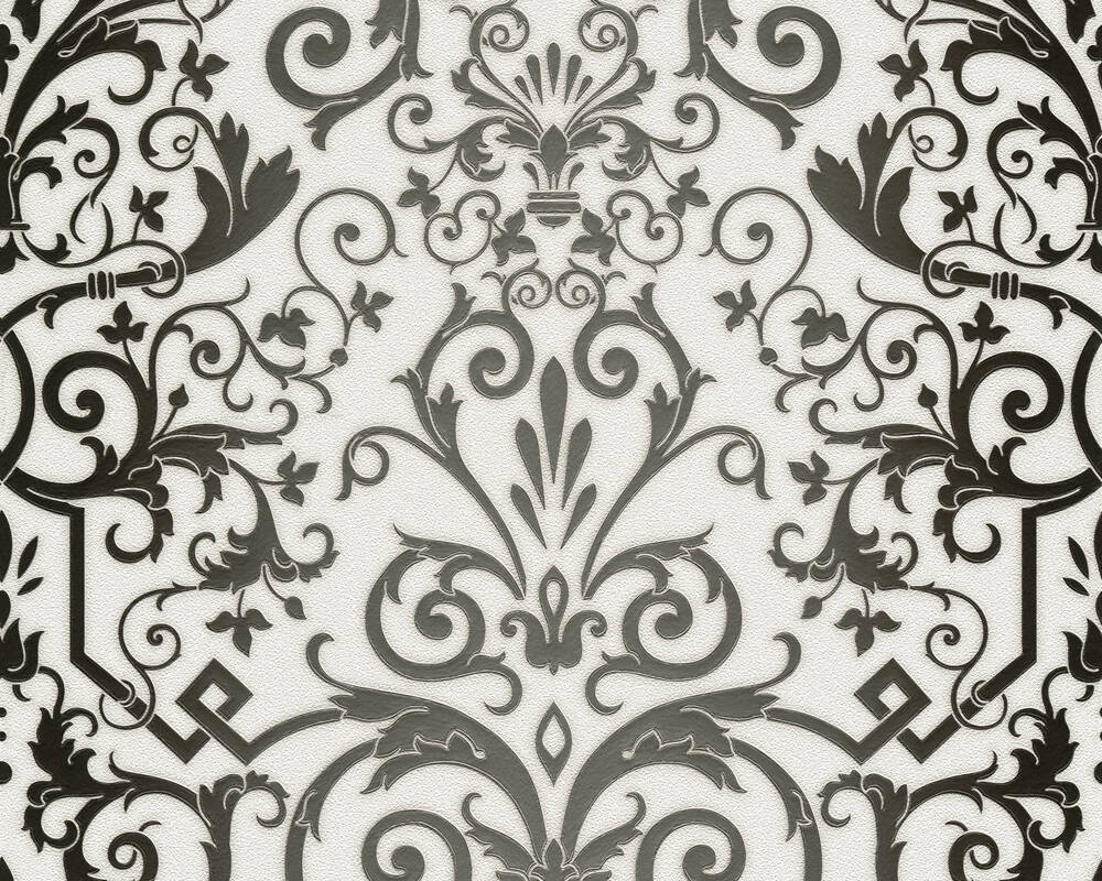 Versace Home Wallpaper Baroque, Black, Metallic, White 935452