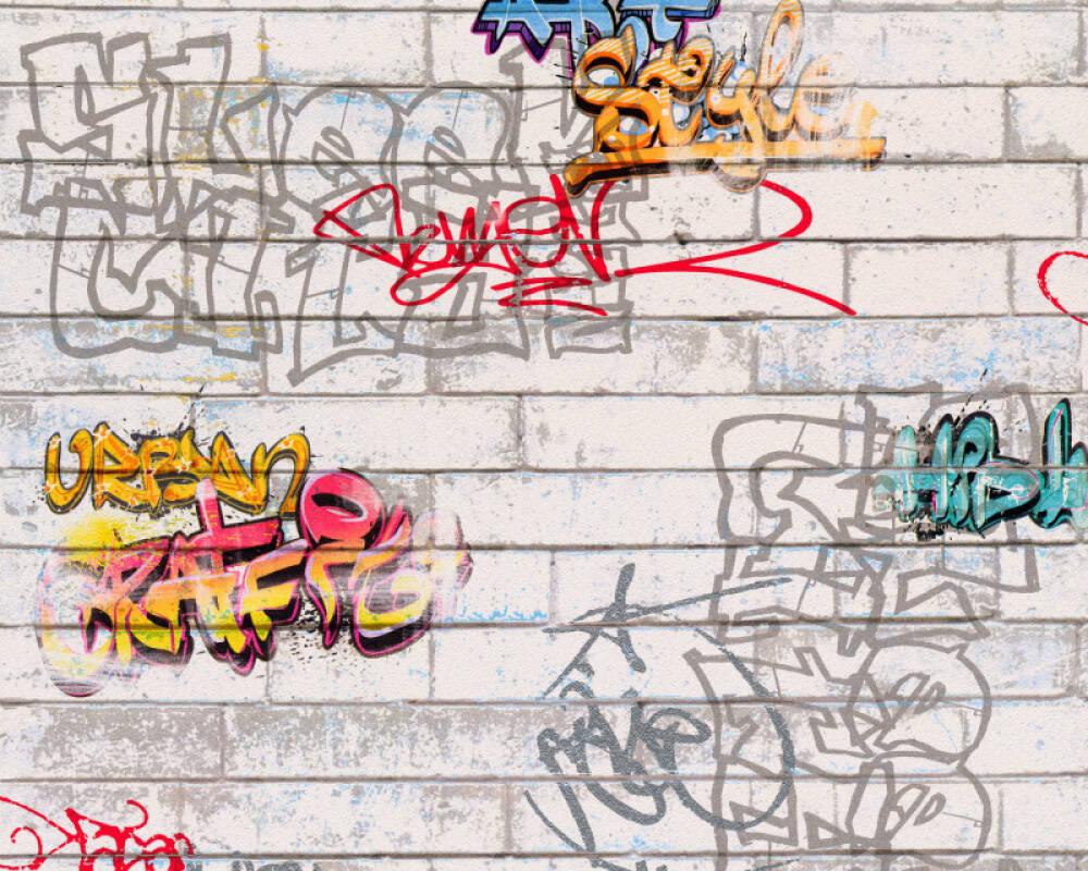Livingwalls Tapete Stein, Bunt, Weiß 935611