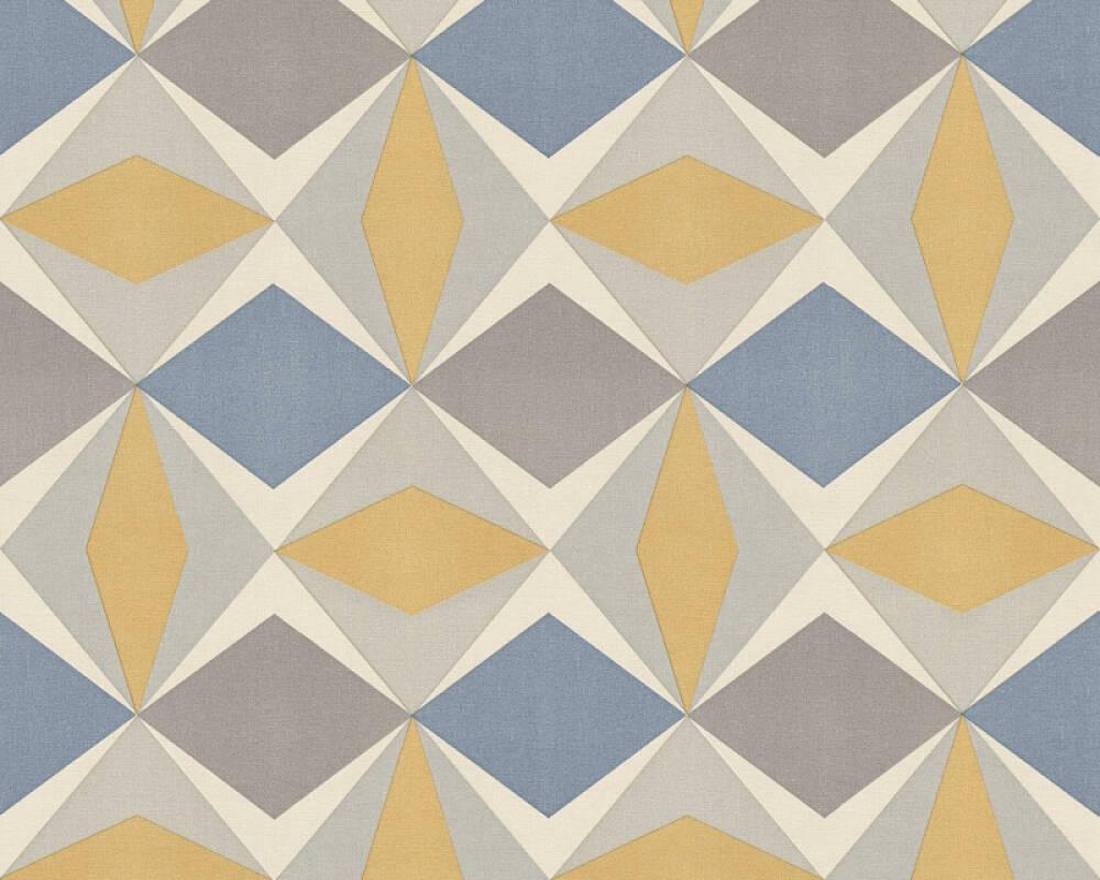 A.S. Création papier peint Graphique, bleu, gris, jaune 957662