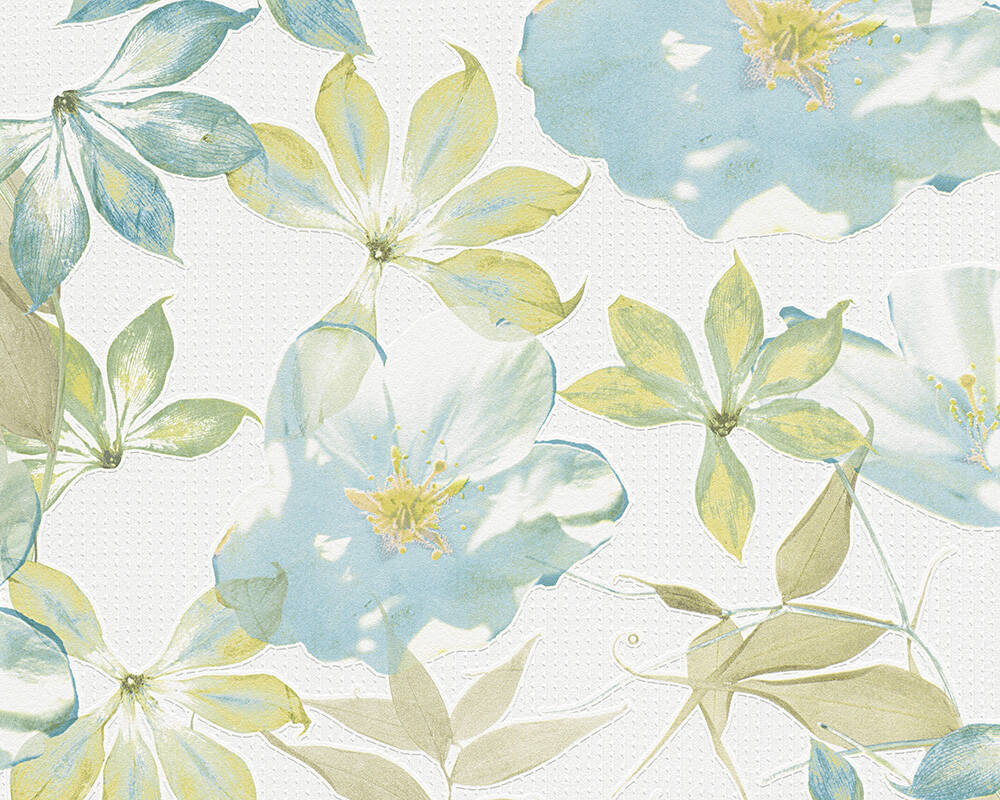 Esprit Home Wallpaper Flowers, Blue, Coloured, White 958251