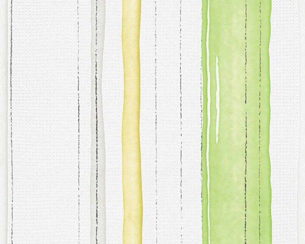 Esprit Home Обои Полосы, Белые, Зеленые, Разноцветные 958261