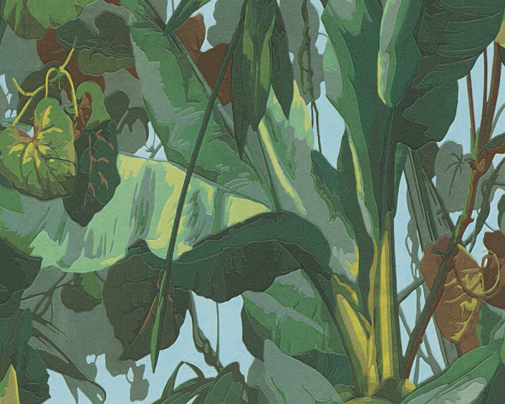 A.S. Création papier peint Jungle, bleu, marron, vert 958981