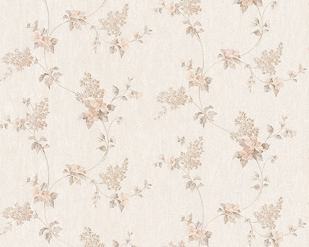 A.S. Création Wallpaper Cottage, Flowers, Brown, Cream, White 959282