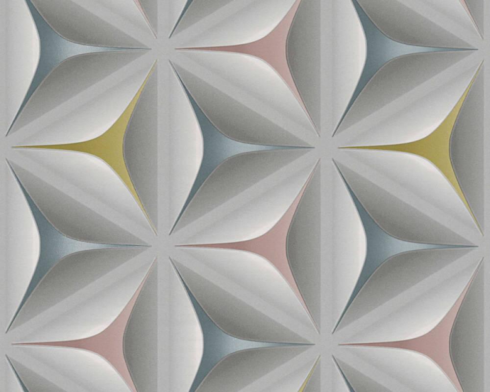 A.S. Création Tapete Grafik, Floral, 3D, Blau, Grau, Rosa 960422