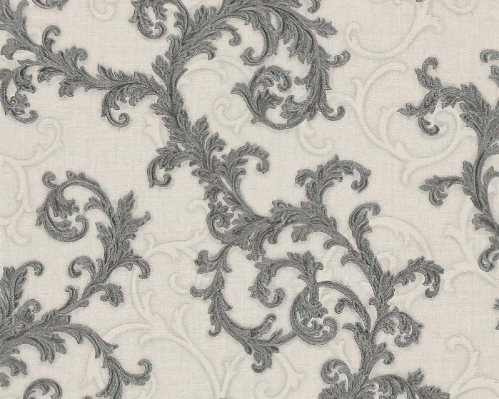 Versace Home Wallpaper Baroque, Grey, Metallic, Silver, White 962315