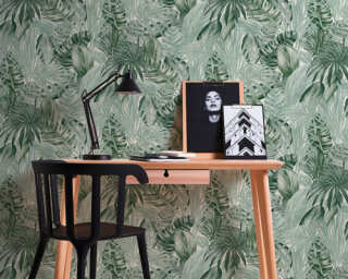 A.S. Création Wallpaper «Floral, Green, White» 368201