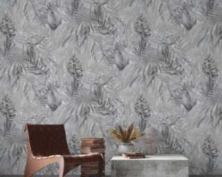 A.S. Création Wallpaper «Floral, Black, Grey, White» 368203