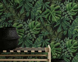 A.S. Création Wallpaper «Floral, Black, Green» 370331